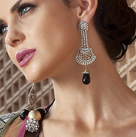 Ladies, turn heads in these Long Earrings in Victorian finish with Zircon and Black Drop! Priced at $99.