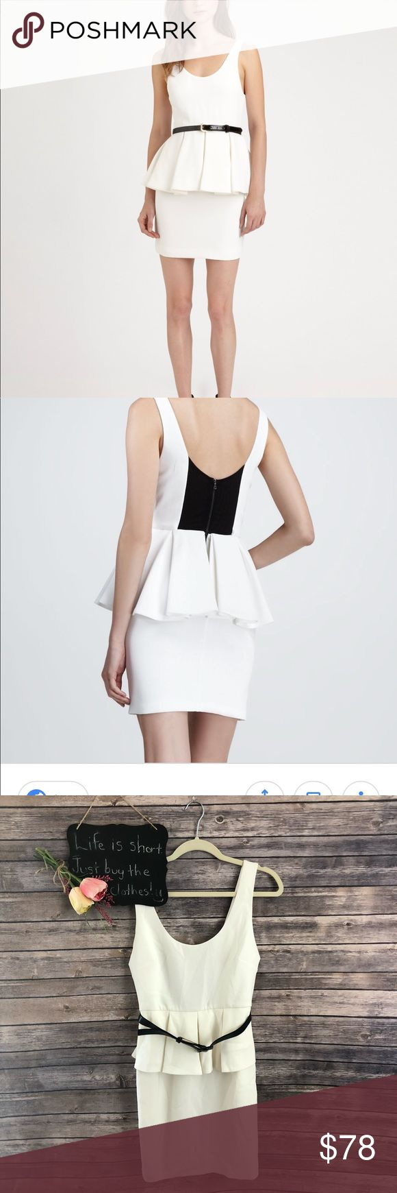 """Alice and Olivia sleeveless white peplum dress Alice and Olivia sleeveless white belted peplum dress. Gorgeous condition!! Size 8.  16.5"""" arm pit to arm pit.  34"""" length. Alice + Olivia Dresses"""