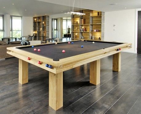 Gallery UK pool table in oak with square legs, black leather pockets and black cloth. Shop here: http://www.snookerandpooltablecompany.com/pool-tables/uk-pool-tables/modern-bespoke-uk-pool/gallery-uk-pool-table-in-oak.html