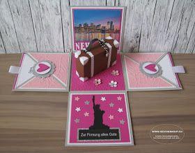 Reise nach New York Firmung Überraschungsbox Explosionsbox Geschenkgutschein Geldgeschenk Reise Geburtstag Koffer Städtereise Amsterdam Paris Berlin Hamburg