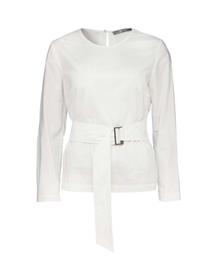Alima blouse - Women's shirt in crisp cotton. Features concealed button closure at back of neck. Fabric belt with D-ring closure. Slim fit. Hip length.