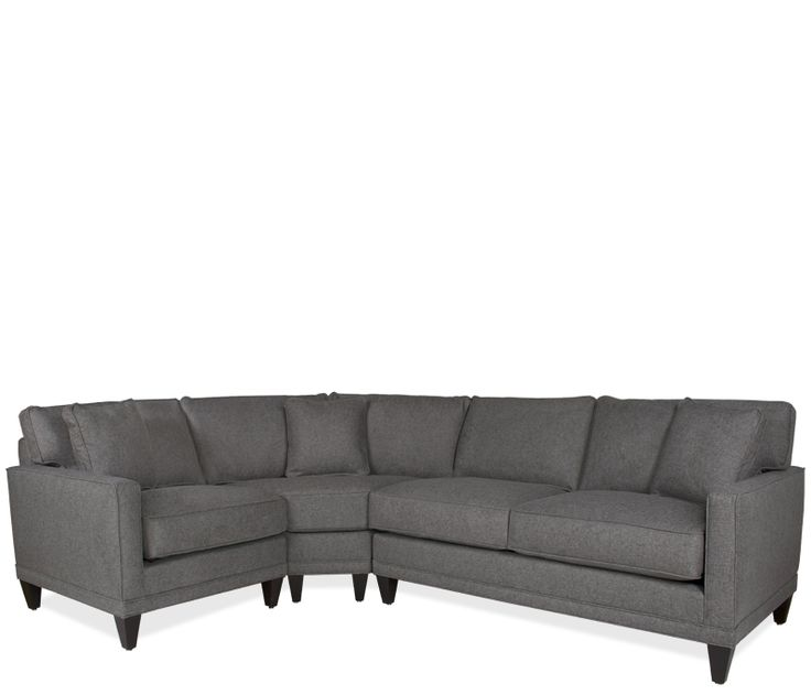 Current Family Room Couch Boston Interiors Oslo Sectional With Wedge Upholstered In A Heathered Gray Fabric Self Toss Pillows And Espresso Finish Legs