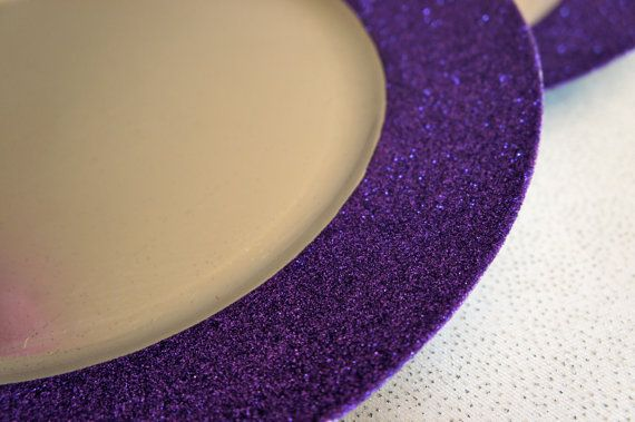Purple glitter charger plates!!
