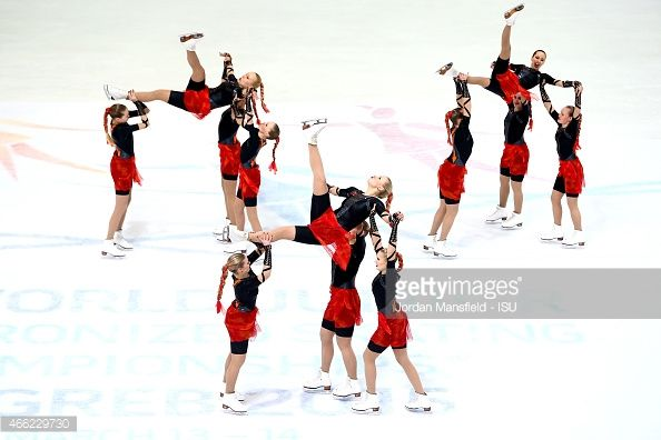 Team Finland 1 perform in the Free Skating during Day 2 of the ISU World Junior Synchronized Skating Championships at Dom Sportova on March 14, 2015 in Zagreb, Croatia.