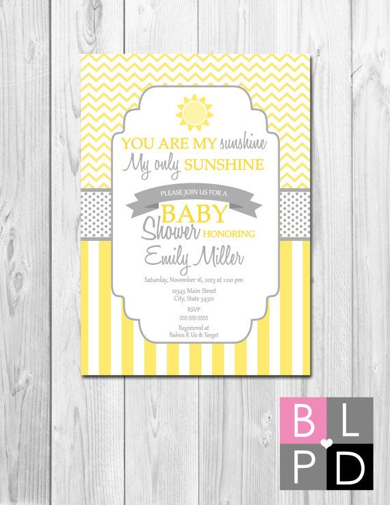 You Are My Sunshine Baby Shower Invitation - Yellow and Grey Stripes and Chevron Stripes - DIY - Printable