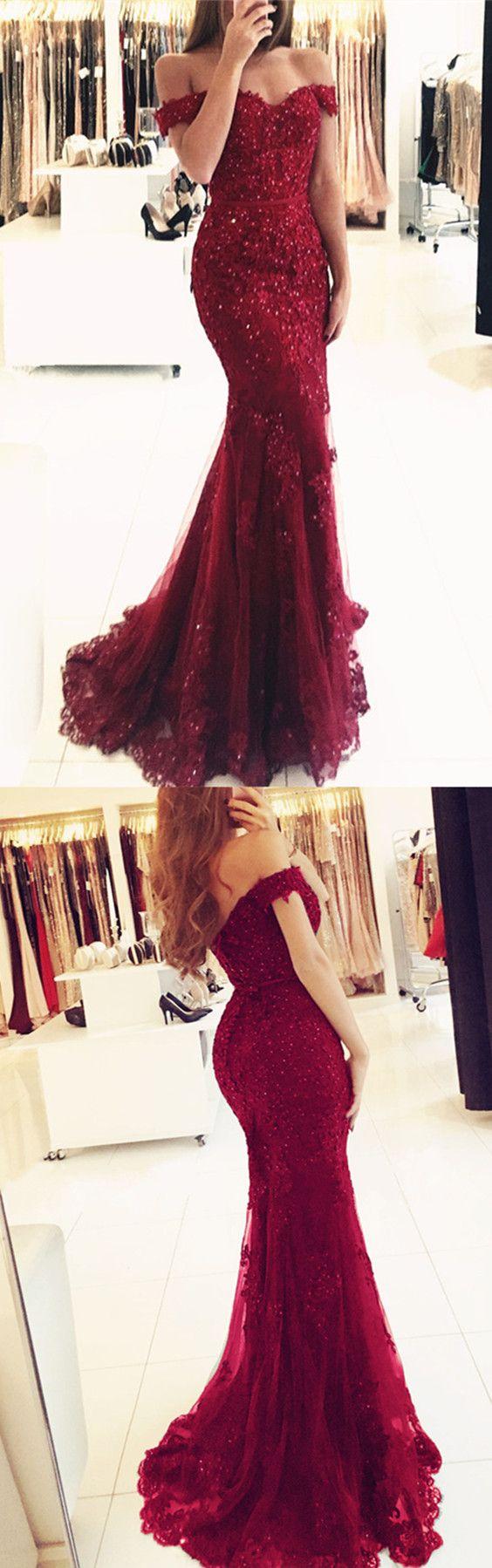 Off Shoulder Lace V-neck Mermaid Prom Dresses Burgundy Evening Gowns 2018