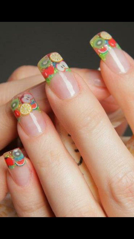 Fruity Acrylic French Nails.