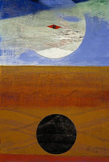 "Sea and Sun / Max Ernst / 1925 / ""Ernst has created textured lines on the surface of the painting by dragging a comb through wet paint."" -- Scottish National Gallery"