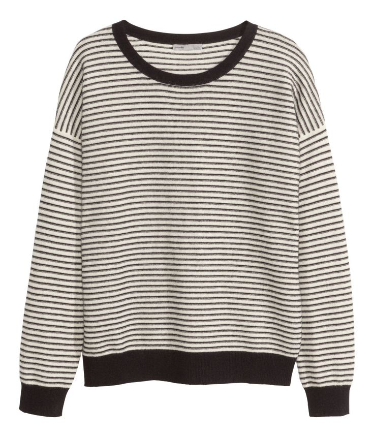 Black & white striped long-sleeved sweater in soft, premium-quality  cashmere.