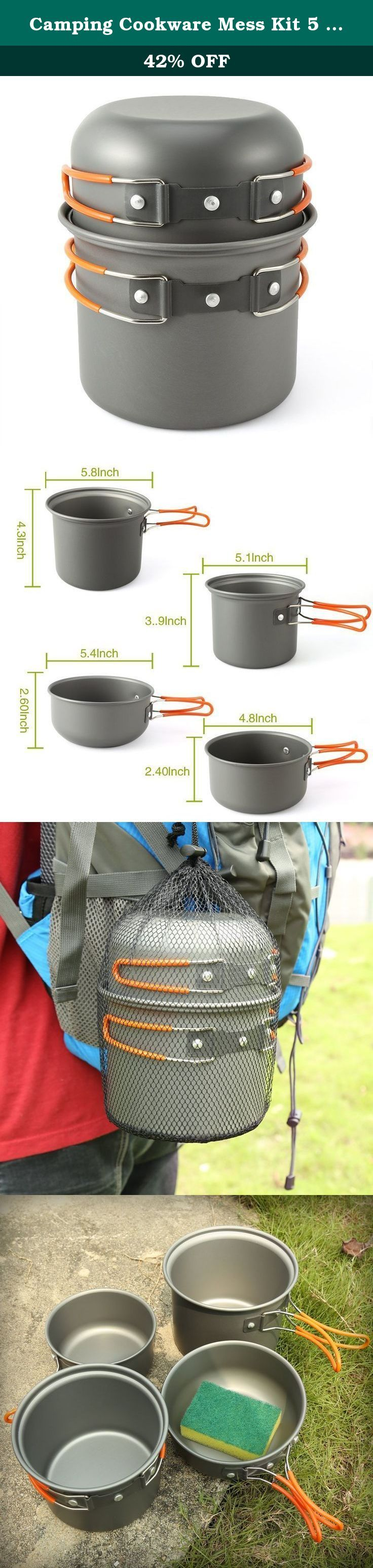 Camping Cookware Mess Kit 5 Piece, EZOWare Lightweight Aluminum Cookware Cooking Pan Pot Set For Outdoor Backpacking Camping Hiking Picnic. The EZOWare Camp Cookware Kit serves as a lightweight, efficient, and portable solution for cooking a light meal outdoors or boil safe drinking water for two to three people. The kit includes 2 pots and 2 smaller dual use pot/pans/lids so you can cook or heat up a variety of food including, canned food, soup, pasta, rice, and eggs. The set is perfect…