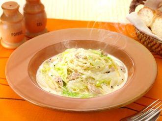 余った食材でメイン料理♡優しい味の白菜のクリームスープパスタ♡
