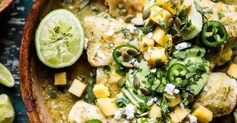 Lightened Up Salsa Verde Chicken Enchiladas with P...