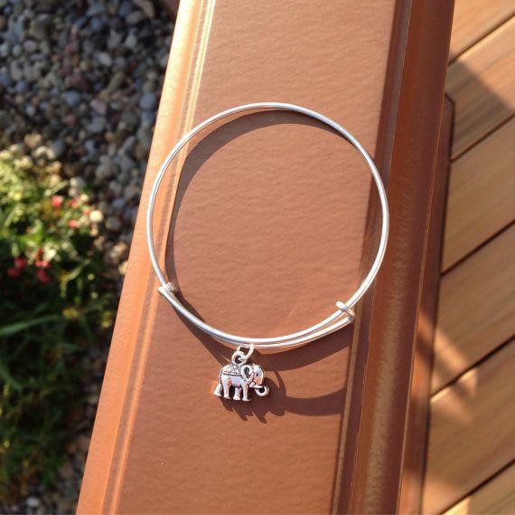 Elephant charm bracelet / Alex and Ani by LulusSeaBoutique on Etsy, $8.50
