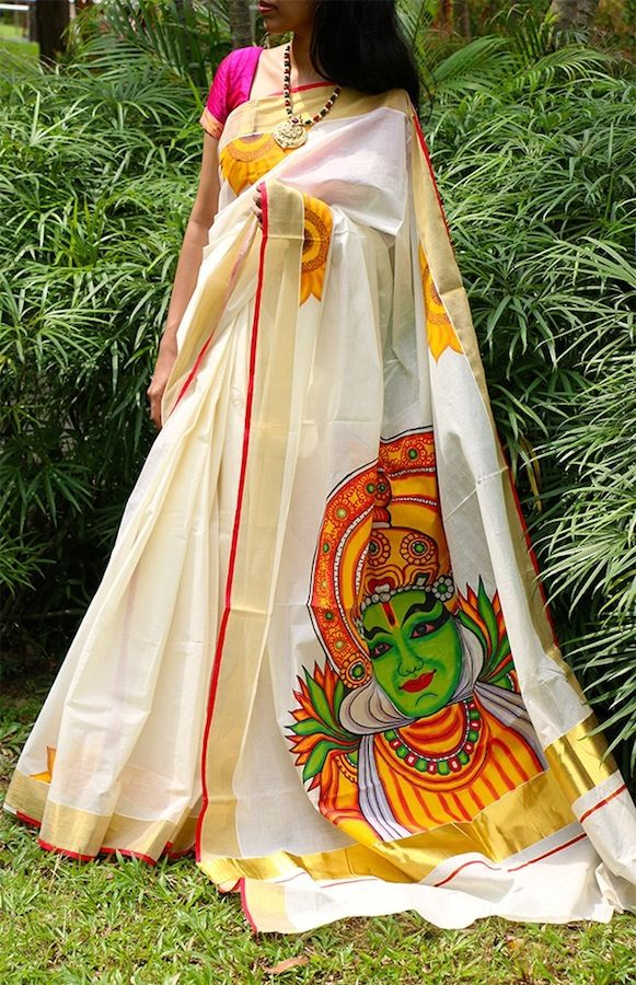 KATHAKALI DANCER HANDPAINTED SAREE IN HANDLOOM COTTON KASAVU SAREE