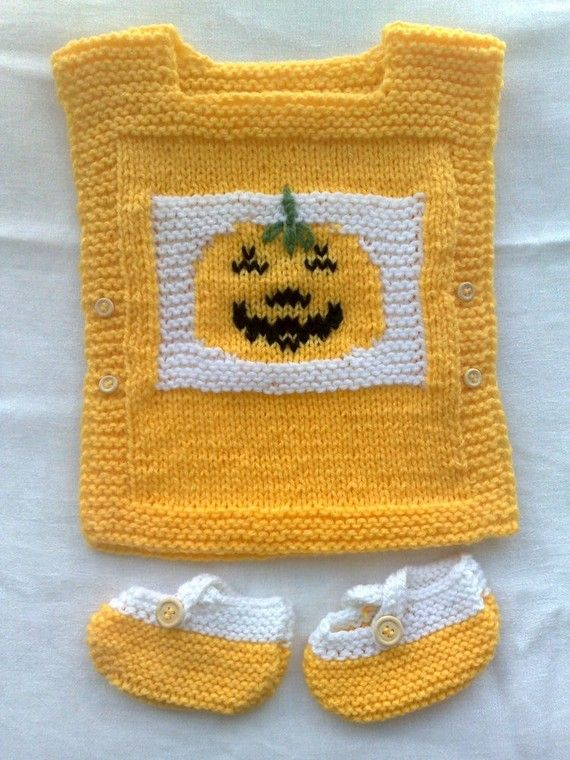 Vest and booties Thanksgiving baby set.  Size 3 by MarikaHandKnits