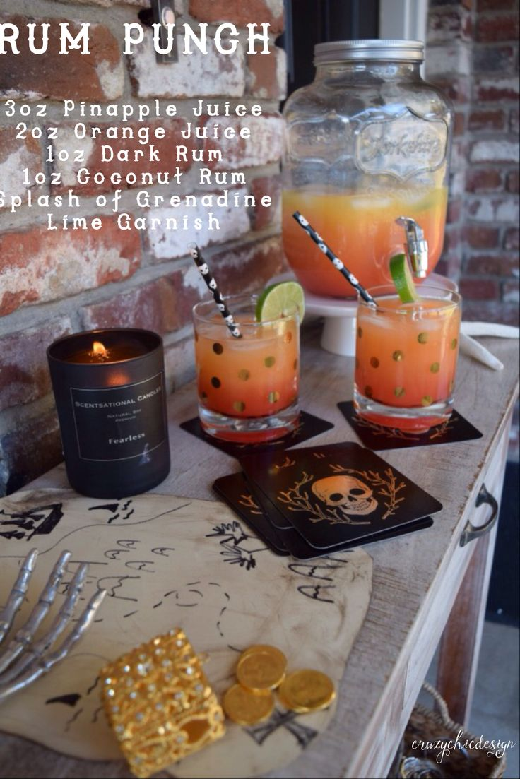 Rum Punch!   Looking for a fun and festive drink recipe? It's perfect for International Talk Like a Pirate Day, or Halloween! Don't forget to find all of your beverage and party decor essentials at HomeGoods.  Sponsored Pin.