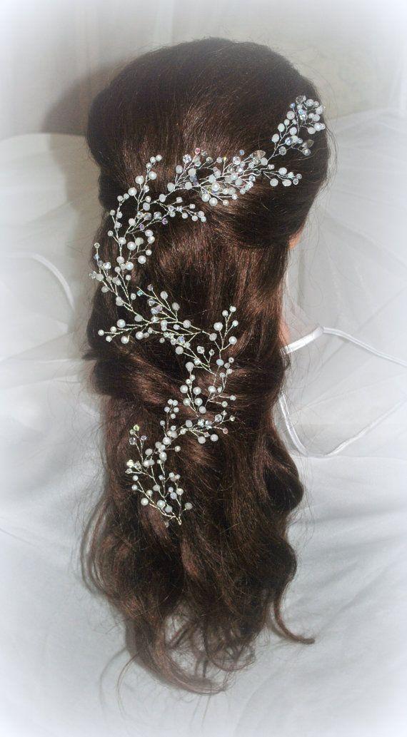 Long Hair Vine Bridal Hair Vine Wedding Headband by LikaBridal