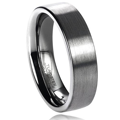 6 mm mens tungsten carbide brushed flat pipe cut wedding band ring sizes 6 14