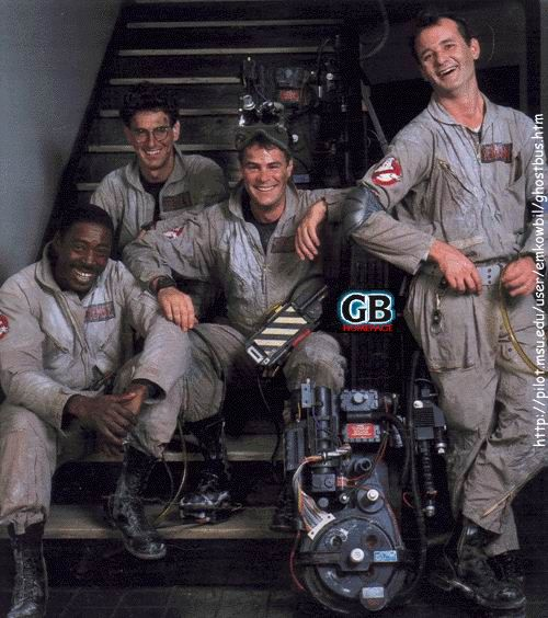 "Bill Murray, Dan Aykroyd, Harold Ramis and Ernie Hudson on the set of ""Ghostbusters"" (1984)"