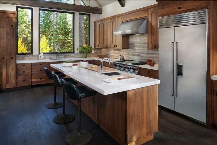Holzküchen mit Edelstahl-kühlschrank-Kochinsel-Keramik integriertes Spülbecken