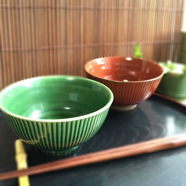 2個セット 美濃焼 茶碗  モダン織部 赤鉄 | ハンドメイドマーケット minne