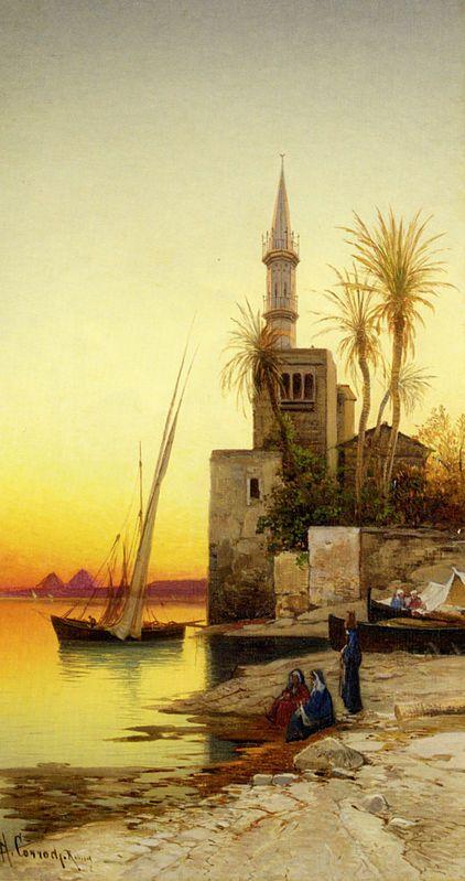 Hermann David Salomon Corrodi, Italien (1844-1905) ''les berges du Nil''