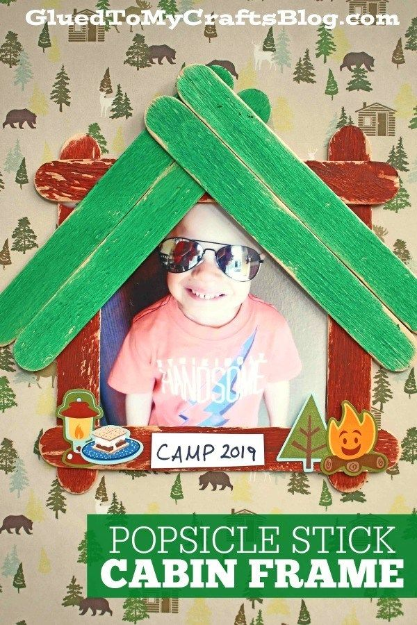 Popsicle Stick Cabin Picture Frame Kid Craft Kids Crafts Summer Camp Popsicle Stick Crafts For Kids Camping Crafts
