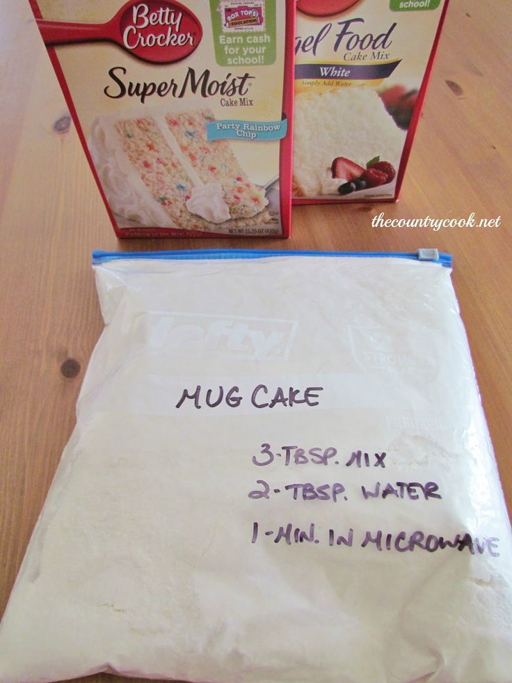 3-2-1 Cake    Mix 1 box cake mix and 1 box angel food cake mix.  Keep in pantry.    To make individual serving, combine 3 T. mix, 2 T. water, 1 minute in microwave.    Top with cool whip or frosting.