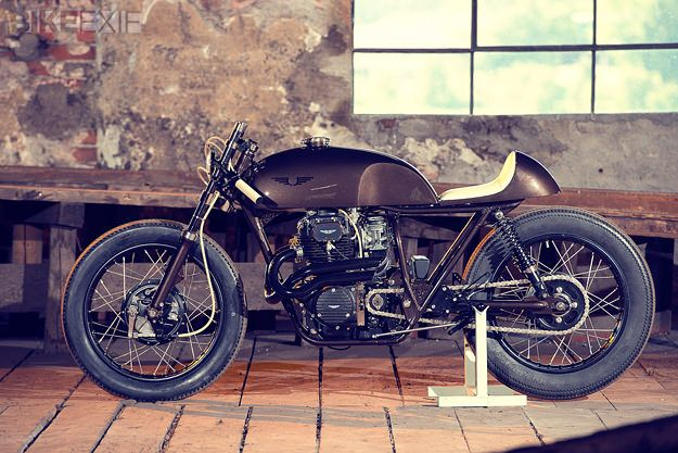 Brown beauty: this highly-caffeinated #Honda #CB250 #CafeRacer was built in Austria for a coffee company.