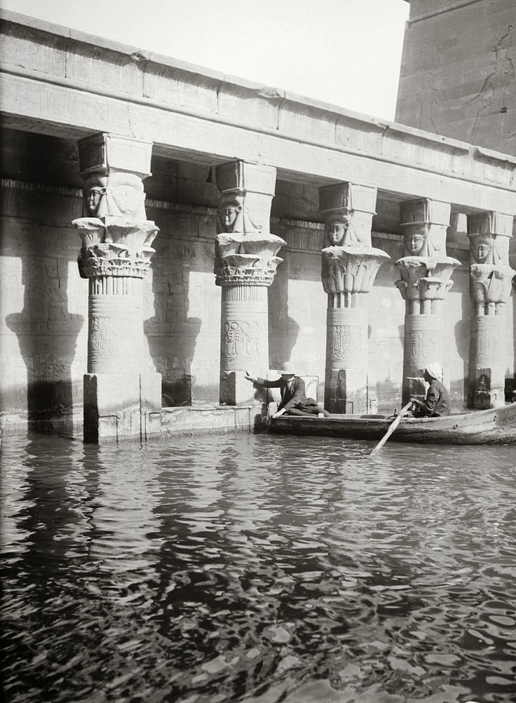 Egypt, Aswan, Temple of Isis flooded - Philae Island, between 1900-1920