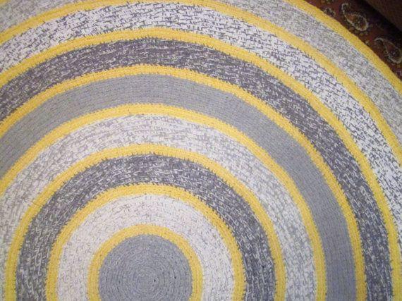 Round Crochet Rug Grey Yellow Rug Home Decor Bedroom by ukraisa, $130.00 (Etsy)