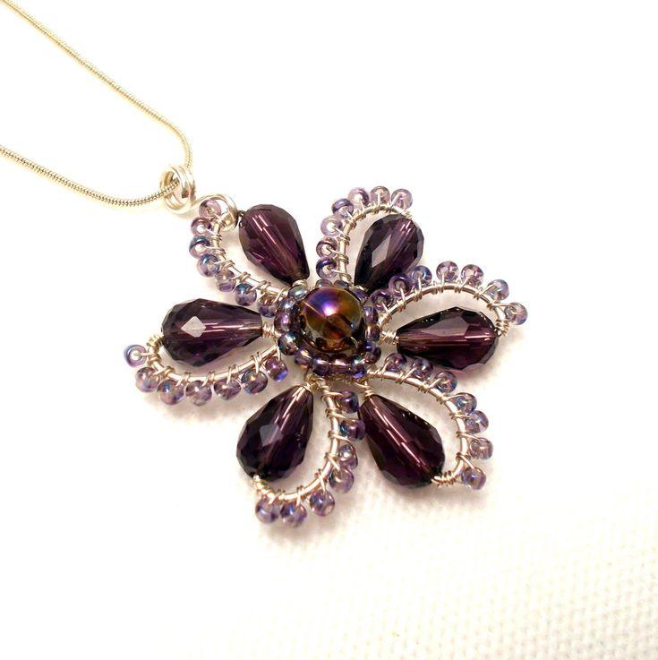 Flower pendant, purple flower pendant, amethyst pendant, amethyst flower pendant, wire wrapped flower pendant, spring jewelry by AnnaWireJewelry on Etsy https://www.etsy.com/listing/182638692/flower-pendant-purple-flower-pendant