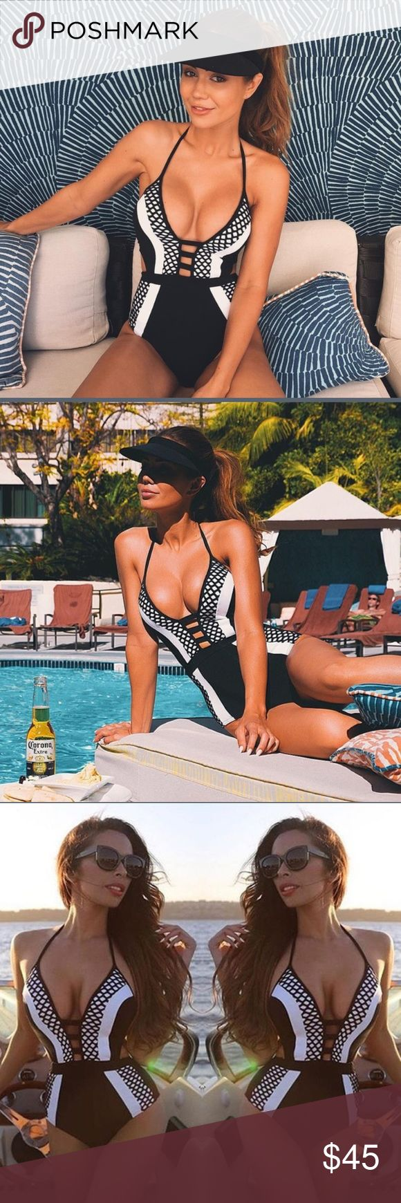Sexy Black and White Monokini Super sexy Monokini made of great material, true to size and very, very flattering! ✨ Swim One Pieces