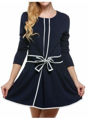 Koyu mavi Meaneor Kadın O-Boyun Uzun Kollu Sağlam İnce Mini Gündelik Elbiseler
