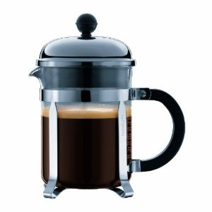 My preferred coffee making device: the Bodum Chambord 4 cup French Press Coffee Maker. Did you know that coffee drinkers are less likely to have type 2 diabetes, Parkinson's disease, dementia, some cancers and strokes? Me neither, because I'd drink coffee regardless!
