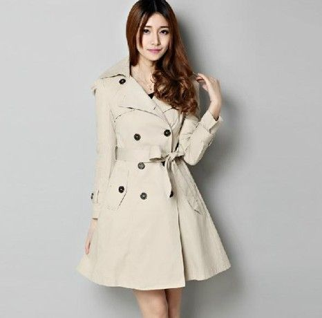 Newest Double-breasted sino-foreign   Trench Coats (Black,Khaki) Trench Coats from stylishplus.com