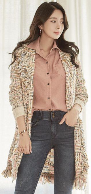 StyleOnme_Fringe Trim Mix Color Open-front Cardigan #cute #stylish #cardigan #falltrend #koreanfashion #kstyle #kfashion #dailylook #seoul