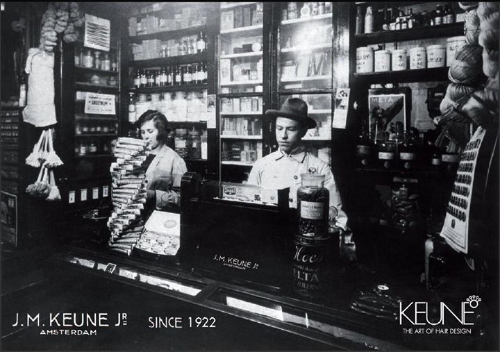 STORY OF KEUNE It all began with one man's passion. In 1922 Jan Keune was a young man with his own pharmacy in Amsterdam (Netherlands). In his quest tot create long-lasting curls, he experimented with solutions in a small laboratory and cosmetic factory he'd started above his shop. It took some work, but after many tries Jan discovered the hot perm - and launched the very first permanent wave in Holland. Today, our products can be found on every continent.