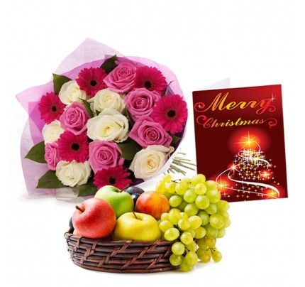 Mix Flowers Bouquet with Fruits Basket and Christmas Greeting Card