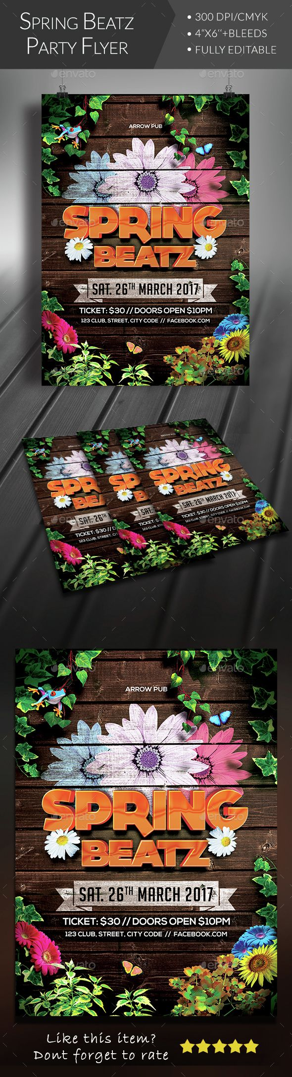 Spring Party Flyer #birds #break #butterfly • Available here → http://graphicriver.net/item/spring-party-flyer/15147796?s_rank=229&ref=pxcr