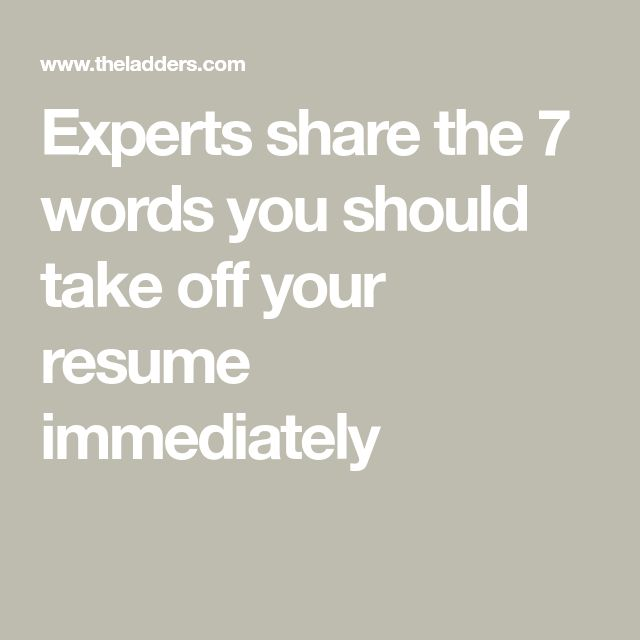 Resume writing experts words