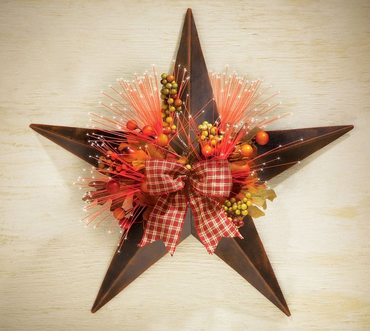 Primitive Star Fiber Optic Wall Decoration Livingroom Country Harvest Home Decor Primitive Http