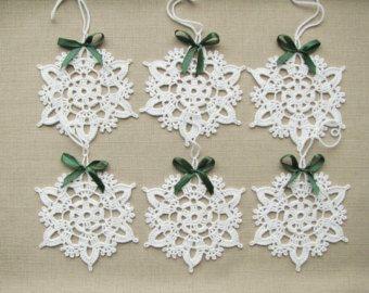 Los copos de nieve de ganchillo Navidad árbol de Navidad decoraciones ornamentos apliques de decoraciones de la boda (juego de 6)