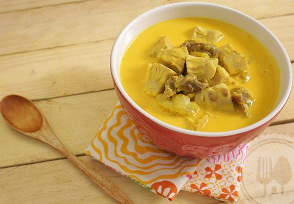 GULAI NANGKA. Jackfruit is the most common ingredients used in a richly spiced coconut soupy dish from Minang called gulai. Widely available, it is the best protein alternative or supplement to meat.