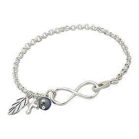 Zilveren Schakel Armband Jasseron met Infinity bedels en zoetwaterparel
