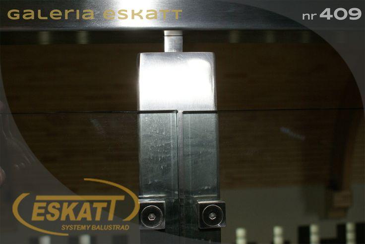 Glass balustrade with stainless steel square railing #balustrade #eskatt #construction #stairs