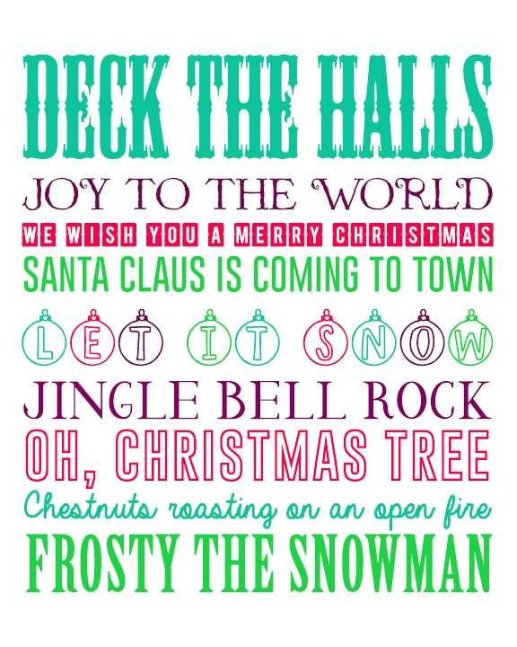 printable christmas pictures  | Free Christmas Printable Multicolored Christmas Songs Word Art