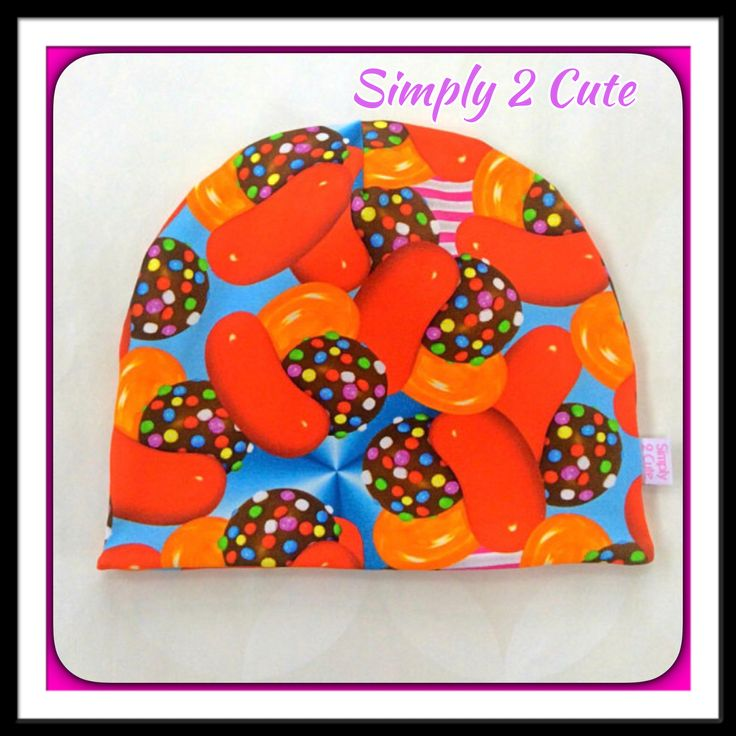 The perfect gift for someone who loves Candy Crush! Reversible beanie made in stretch jersey, custom made in sizes Newborn to Adult. http://etsy.me/2C2q0BP