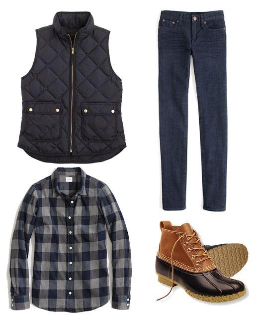 J. Crew Excursion Vest, Flannel and Bean Boots
