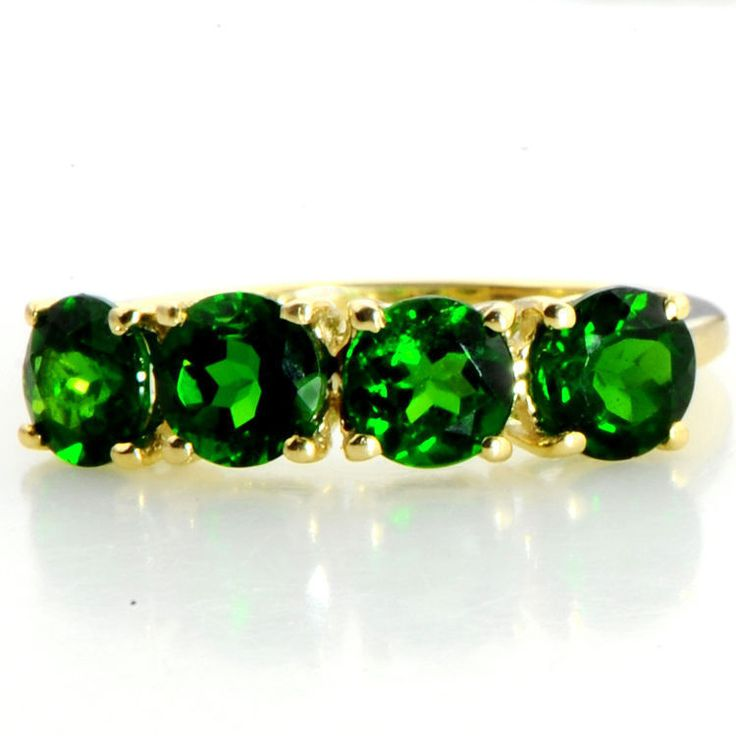 CHROME DIOPSIDE 2.10 CARAT GEMSTONE RING IN 10 KT SOLID YELLOW GOLD JEWELRY